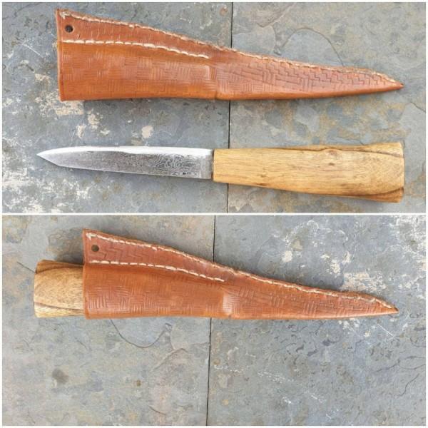 Wikinger Damast - Messer mit Futteral, Typ5