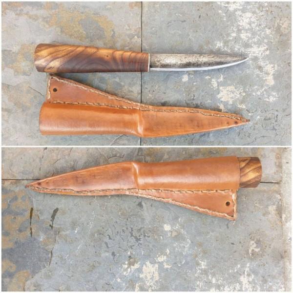 Wikinger Damast - Messer mit Futteral
